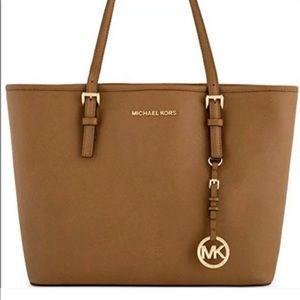 Michael Kors Jet Set Brown Leather Tote Bag Purse